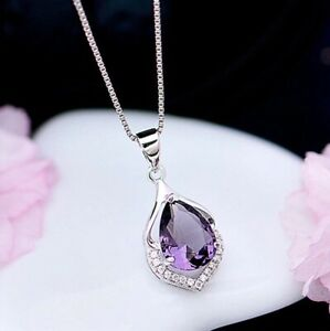 Crystal Amethyst Pendant Chain Necklace 925 Sterling Silver Women's Jewellery Uk