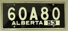 1953 General Mills Cereal Prize Alberta License Plate 60 A 80 Black vintage