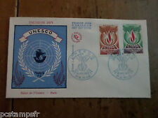 FRANCE 1975, FDC SERVICE, UNESCO VF, DROITS HOMME, TP 43 44, STAMP OF SERVICE
