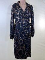 BNWT NEXT black chain scarf print silky wrap midi dress size 12 euro 40 RRP £42