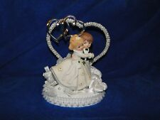 New Charming First Dance Young Wedding Couple Cake topper with heart decor