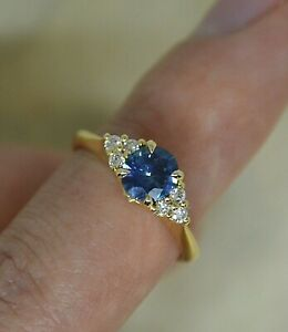 Montana Sapphire Ring w/ Diamonds 14K Gold Round Shape Solitaire Ring,Teal Color