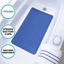 Large Blue Rubber Bath Safety Mat: In-Tub Mildew Resistant Suction Cup Mat