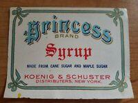 Koenig & Schuster N.Y USA Princess Brand Syrup labels Vintage/Originals Lot of 3