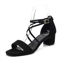 Womens Suede Sandals Low Chunky Heel Dress Party Lace-Up Shoes Open Toe Comfort