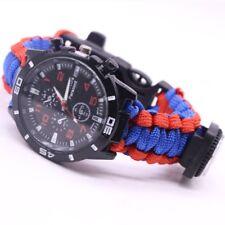 Paracord Survival Watch Bracelet Flint Fire Starter Compass Whistle Waterproof