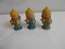 3 Vintage Retro Hard Plastic Blue Angels Gold Stars Italy Christmas Ornaments