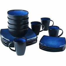 Beautiful Black And Blue Dinnerware Set 16 Piece Round Square Plates Bowls Mugs