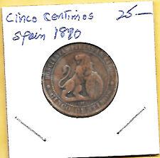 1870 O.M. Spain 1 CINCO centimos coin KM#663 Diez Gramos Diez Piezas en Kilog