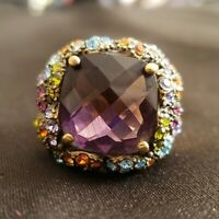 Heidi Daus Amethyst Statement Dome Ring Size 9 - GORGEOUS!!