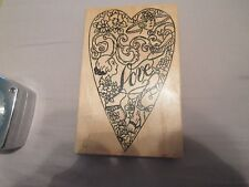 HEART WOMAN LOVE WOOD MOUNTED RUBBER STAMP SCRAPBOOK ME & CARRIE LOU GREAT SHAPE