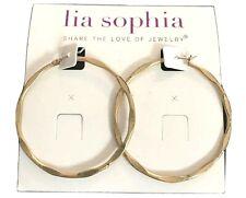 "New! Lia Sophia ""Side Kick"" Matte Gold Tone Wavy Scalloped Hoop Earrings"