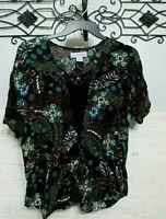 Sag harbor Women's Top Size L Short Sleeve Multicolored Floral Blouse