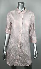 Victorias Secret Tunic Shirt Dress M Medium Pink Striped Button Front New