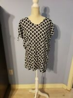 Gap Womens Blue And White Short Sleeve Tunic Blouse Size Small