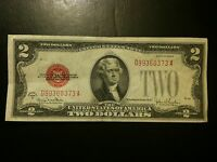 1928 G Two Dollar $2 Note AU About UNC Red Seal Currency Small Size Bill Paper