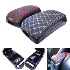 Universal Car Center Armrest Multi Console Box Faux Leather Storage Box Black