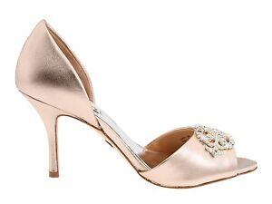 Badgley Mischka SALSA leather D'orsey heels sandals open shoes ROSE gold 6 M NIB