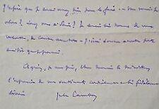 Belle lettre de Jules Cambon à Aristide Briand.