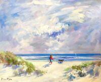 "Nino Pippa Listed Original Oil Painting Three's Company Sorolla Interest 16""X20"""
