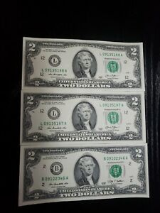 🇺🇸 MIXED Uncirculated 2013 RARE Two Dollars Bill $2 Note Lot Fancy, BEP