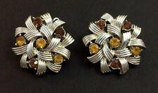 Vintage Signed Coro Amber Topaz Rhinestone Modern White Gold Tone Clip Earrings