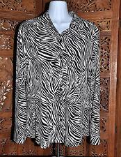 Women's Chico's Black and White Zebra Print Knit Blouse - Size 1