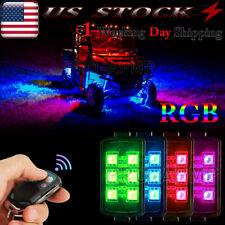 4 Pods RGB LED Rock Lights Multicolor Underbody Glow Light For Off-Road JEEP UTV