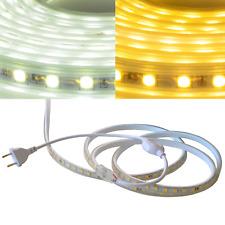 230V LED Strip Lichtleiste 5050 SMD Lichtband Licht Schlauch Streifen Warm Kalt