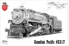 Railroad Art by Scotty Canadian Pacific Steam Engine Pen & Ink