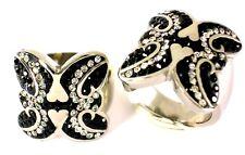 Edelstahl Ring Klar Schwarz Steine Cocktail Breit 23 mm Gr.;17,2;18,8 mm Silber