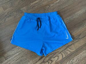 """nike dri fit running shorts medium blue 4"""""""