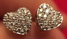 Diamond Heart Earrings White 14k Solid