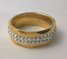 G-Filled Men's 18k yellow gold simulated diamond wedding ring 8mm band bling 9.5
