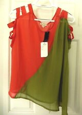 Hot & Delicious Semi Sheer Blouse-L, coral & lime  Sexy Design!  NWT $42