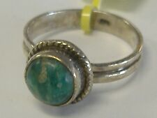 STERLING SILVER   RING WITH GREEN TURQUOISE SIZE 7,5