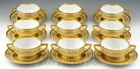 Vintage Black Knight HEAVY GOLD ENCRUSTED CREAM SOUP CUPS BOWLS & SAUCERS Set 9