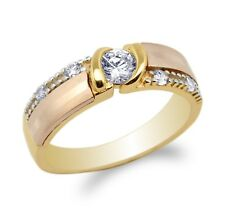 JamesJenny  Mens 10K/14K Yellow Rose Gold 3Colored Wedding Band  Ring Size 7-12
