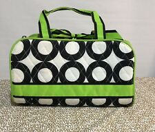 Belvah Quilted Lime Green Black/White Polka Dot 3 pc Cosmetic/Travel Bag Vguc