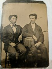 Antique TINTYPE PHOTO - Twin Brothers Boyfriends ? Gay ? Cousins?