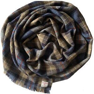 Harris Tweed MacKenzie Tartan Check Pure Wool Wrap Shawl Oversized Scarf