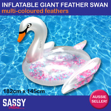 Inflatable Giant Feather Filled Ride on Swan Multi 182cm Pool Float Beach Toy