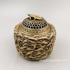 "4.6"" China antique Old brass Seiko Casting Thousand crane pattern incense burner"