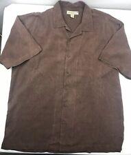 Tommy Bahama 100% Silk Button Down Shirt Hawaiian Aloha Brown Pineapple Men's XL