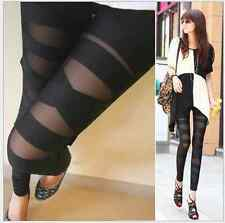 Black Stretch Sexy Women Bandage Cross Strap Mesh Pants Tight Leggings