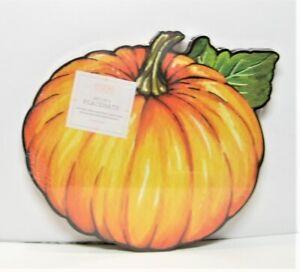Set / 4 My Little Pumpkin Cork Placemats Round Orange Green Black - NEW