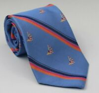 NWT Brooks Brothers Men's Silk Blue Stripe Repp Sailboat Neck Tie 58L 3.75W