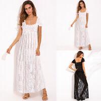 ZANZEA Women Long Maxi Sundress Gown Beach Party Swim Sheer Cover Up Lace Dress