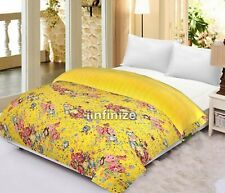 Cotton Kantha Quilt Bed Cover Throw Vintage Home Decorative Blankets Handmade