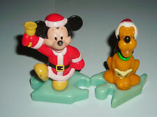 "DISNEY MICKEY MOUSE AND PLUTO CHRISTMAS SANTA 3"" TOY FIGURE CAKE TOPPER"